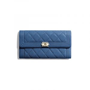Chanel Dark Blue Grained Calfskin Boy Chanel Long Flap Wallet