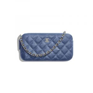 Chanel Dark Blue Iridescent Grained Calfskin Classic Clutch With Chain
