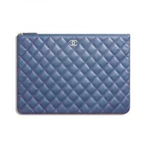 Chanel Dark Blue Iridescent Grained Lambskin Large Pouch