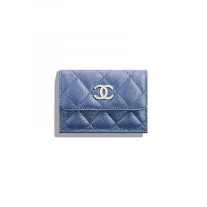 Chanel Dark Blue Iridescent Grained Lambskin Small Flap Wallet