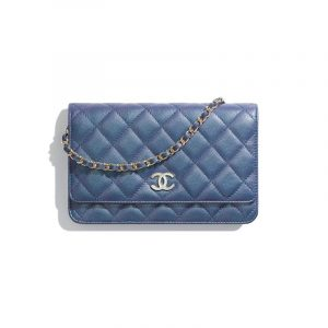 Chanel Dark Blue Iridescent Grained Lambskin Wallet On Chain