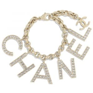 Chanel Gold/Crystal Metal and Strass Bracelet