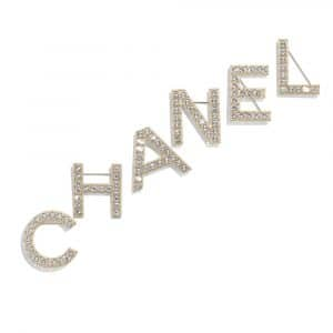 Chanel Gold/Crystal Metal and Strass Brooch