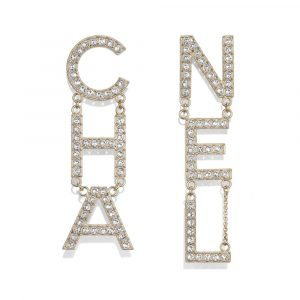 Chanel Gold/Crystal Metal and Strass Earrings