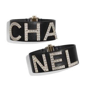 Chanel Gold/Navy Blue/Crystal Lambskin and Strass Cuff