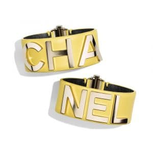 Chanel Gold/Yellow Metal and Lambskin Cuff