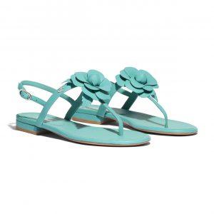 Chanel Green Floral Lambskin Sandals