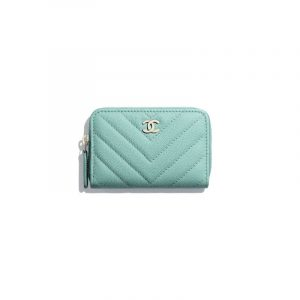 Chanel Green Grained Calfskin Classic Zipped Coin Purse