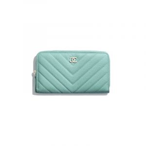 Chanel Green Grained Calfskin Classic Zipped Wallet