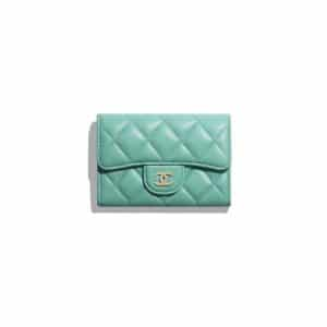 Chanel Green Lambskin Classic Card Holder