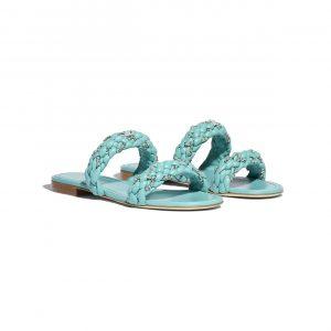 Chanel Green Lambskin Sandals