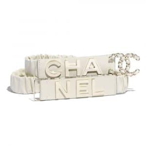 Chanel Ivory Lambskin and Gold-Tone Metal Belt