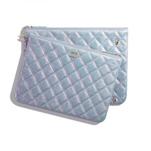 Chanel Light Blue Iridescent Crumpled Lambskin Pouch