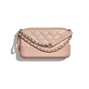 Chanel Light Pink Aged Calfskin Gabrielle Small Clutch With Chain