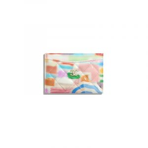 Chanel Multicolor Printed Patent Calfskin Classic Card Holder