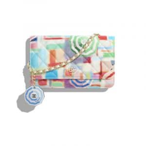 Chanel Multicolor Printed Patent Calfskin Classic Wallet On Chain