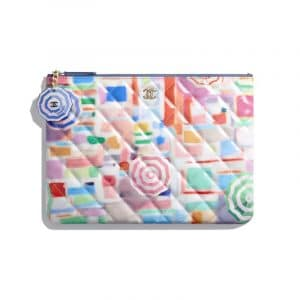 Chanel Multicolor Printed Patent Classic Pouch
