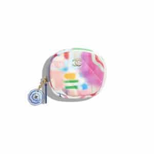 Chanel Multicolor Printed Patent Classic Zipped Round Coin Purse