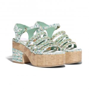 Chanel Multicolor Tweed Wedge Sandals