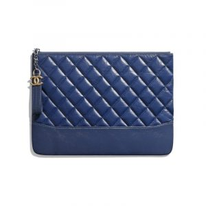 Borsa in pelle di vitello invecchiata blu scuro Chanel
