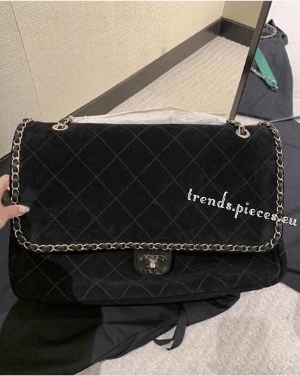 ed2d86b6cfef0b Chanel Pharrell Black Suede Calfskin XXL Flap Bag. IG: trends.pieces.eu