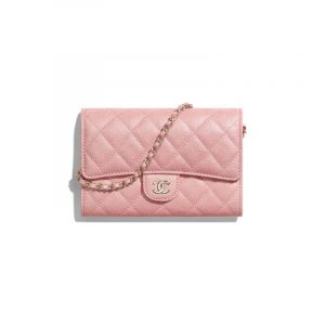 Chanel Pink Iridescent Grained Calfskin Classic Clutch With Chain