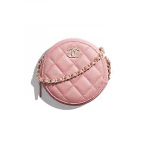 Chanel Pink Iridescent Grained Lambskin Clutch With Chain