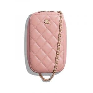 Chanel Pink Lambskin Classic Clutch With Chain