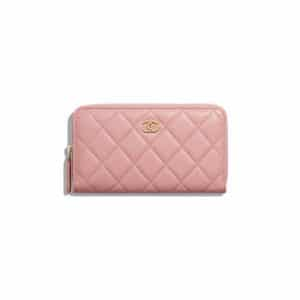 Chanel Pink Lambskin Classic Zipped Wallet