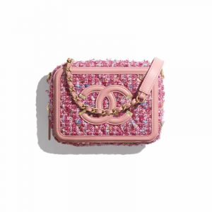 Chanel Pink Tweed CC Filigree Clutch With Chain