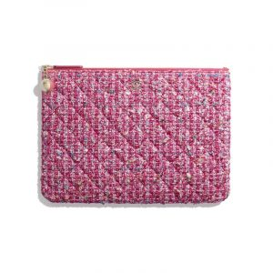 Chanel Pink Tweed Classic Pouch