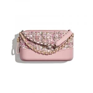 Chanel Pink Tweed Gabrielle Clutch With Chain