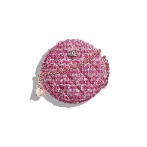 Chanel Pink Tweed Round Classic Clutch With Chain