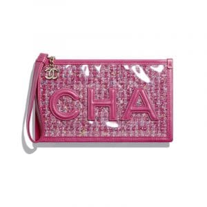 Chanel Pink Tweed/PVC/Lambskin Pouch Bag