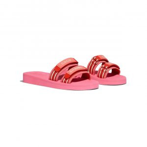 Chanel Pink/Red Fabric and Rubber Slides