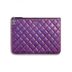 Chanel Purple Iridescent Crumpled Lambskin Classic Pouch