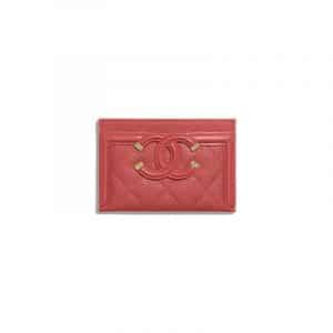Chanel Red CC Filigree Card Holder