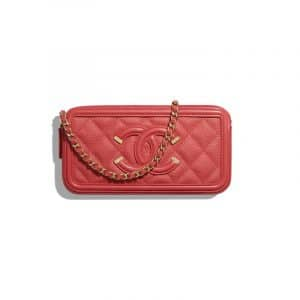 Chanel Red CC Filigree Small Clutch With Chain