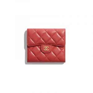 Chanel Red Classic Small Flap Wallet