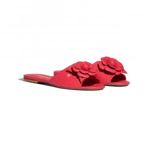 Chanel Red Floral Lambskin Mules