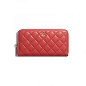 Chanel Red Lambskin Classic Long Zipped Wallet