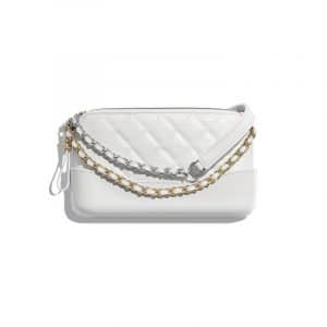Chanel White Aged Calfskin Gabrielle Small Clutch With Chain