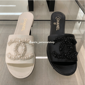 Chanel White and Black Pearl Sandals