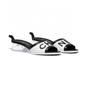 Chanel White/Black Lambskin Mules