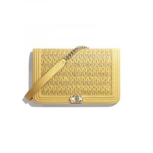 Chanel Yellow Cotton:Lambskin Boy Chanel Wallet On Chain