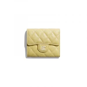 Chanel Yellow Iridescent Grained Calfskin Classic Small Flap Wallet