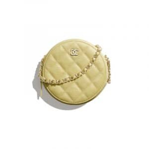Chanel Yellow Iridescent Grained Calfskin Round Classic Clutch With Chain