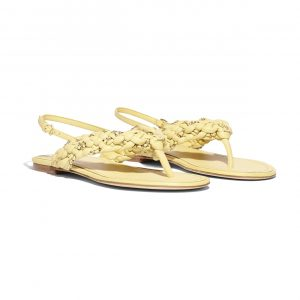 Chanel Yellow Lambskin Thong Sandals