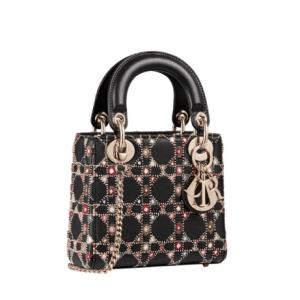 Dior Black Embellished Mini Lady Dior Bag