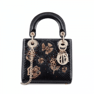 Dior Black Embroidered Python Mini Lady Dior Bag